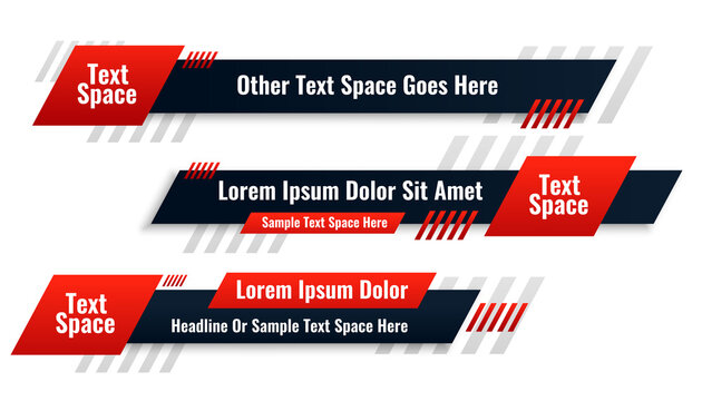 abstract red lower third banner in geometric style