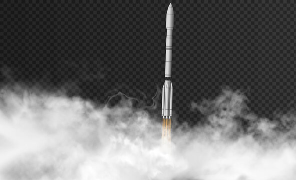 Rocket flyes through thick smoke on the dark transparent background. Russian carrier rocket vertical start inside realistic clouds. Vector 3d illustration.