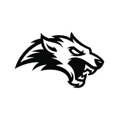 Wolf  vector logo template.Wolf head logo illustration.Angry wolf logo template.Modern professional Wolf logo for a sport team.Wolf Vintage Logo Stock Vector.Wolf standing and howling.Wolf mascot logo
