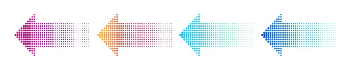 Fototapeta Dotted arrow gradient design. Vector isolated elements. Arrow halftone effect. obraz