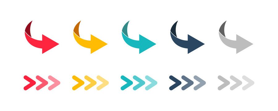 Arrow set icon. Colored arrow symbols. Arrow isolated vector graphic elements.