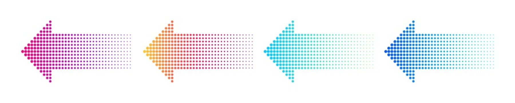 Dotted arrow gradient design. Vector isolated elements. Arrow halftone effect.