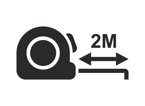 Social distancing. 2 metre distance. Tape measure. Vector icon isolated on white background.
