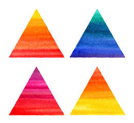 Colorful watercolor triangles set. Watercolour geometric background with red, orange, yellow, blue gradient stains. Painted pyramid shape template for card, poster, text frame. Hand drawn texture.