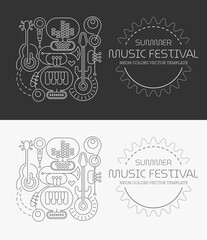 Papiers peints Art abstrait Line art isolated on a dark grey and on a white backgrounds Summer Music Festival vector illustration. Poster design with silhouettes of different musical instruments, equipment and text.