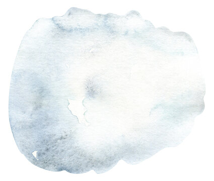 Blue watercolor background. Splash abstract shape drawing.