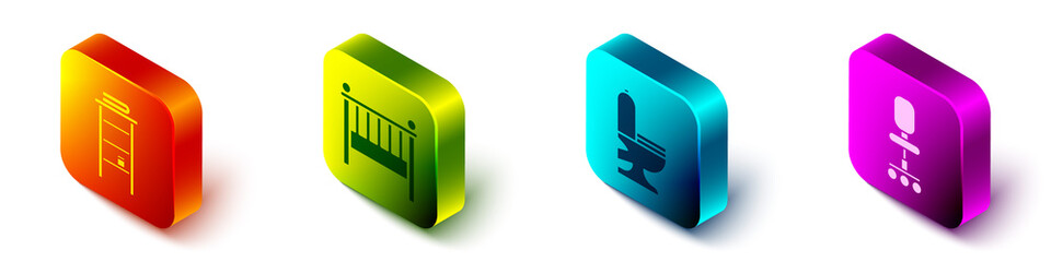 Set Isometric Bathroom rack with shelves for towels, Baby crib cradle bed, Toilet bowl and Office chair icon. Vector