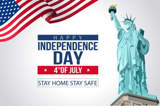 Independence Day. Poster. The Statue of Liberty. Patriotism. 4th of July. democracy. inscription. vector illustration. covid-19, corona virus concept