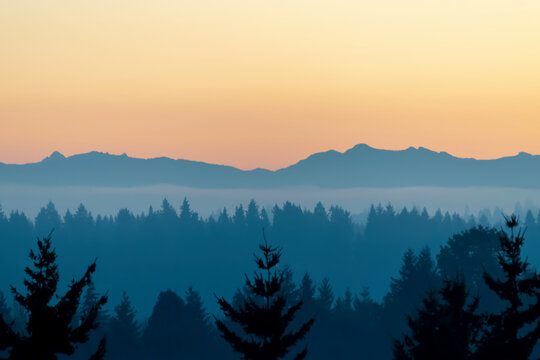 Silhouette of Northwest Cascade Range with forest in foreground on Mercer Island in Washington state on an autumn day in October.