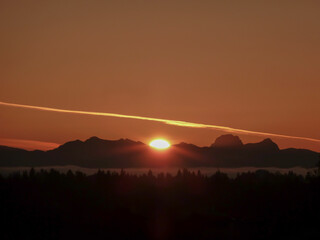 Bright sunlight and large contrail (vapour trail) in the sky, and silhouette of the Cascade Range and forest in the foreground during sunrise on a spring day on Mercer Island in Washington State.