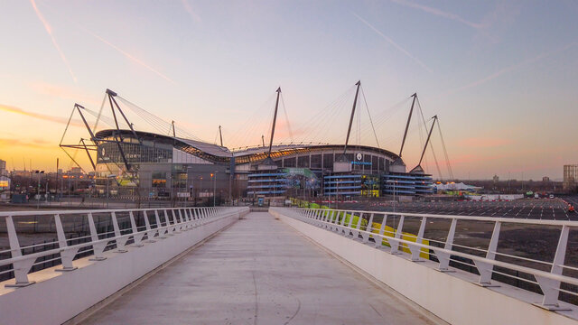 Walkway to Etihad stadium of Manchester City - MANCHESTER / UNITED KINGDOM - JANUARY 1, 2019