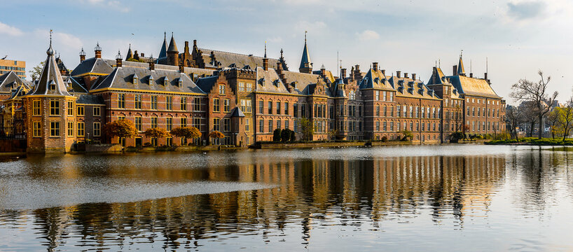 It's The Ridderzaal in Binnenhof with the Hofvijver lake. Meeting place of States General of the Netherlands, the Ministry of General Affairs and the office of the Prime Minister of Netherlands