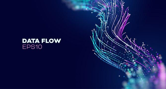 Futuristic wave, Futuristic data stream vector background. Data vortex stream technology. Cyberpunk funnel.