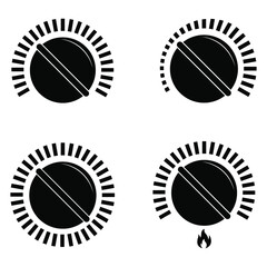 Black cooking stove heat knob kitchen gas dial isolated vector illustration