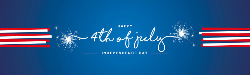 Happy 4th of july USA Independence day handwritten typography sparkle firework red white ribbon blue banner