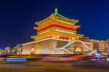 Evening view of the Bell Tower in Xi'an, China Fototapete