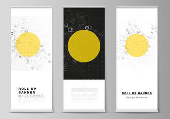 The vector illustration layout of roll up banner stands, vertical flyers, flags design business templates. Science or technology 3d background with dynamic particles. Chemistry and science concept. Fotoväggar