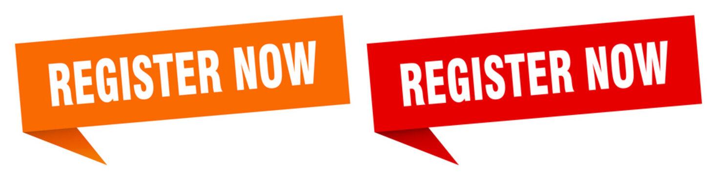 register now banner. register now speech bubble label set. register now sign