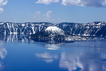 Crater Lake National Park in early spring