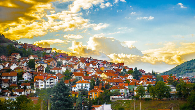 It's Uzice, a city in western Serbia, located at the banks of the Detinja river. It is the administrative center of the Zlatibor District.