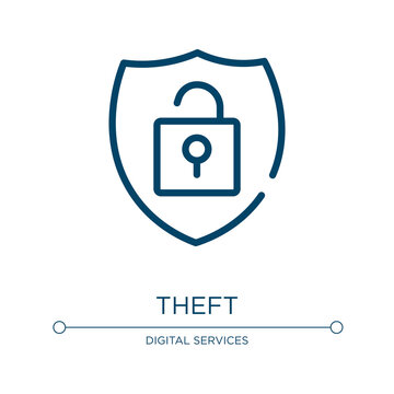 Theft icon. Linear vector illustration from cyber robbery collection. Outline theft icon vector. Thin line symbol for use on web and mobile apps, logo, print media.