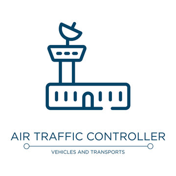 Air traffic controller icon. Linear vector illustration from aerodrome collection. Outline air traffic controller icon vector. Thin line symbol for use on web and mobile apps, logo, print media.