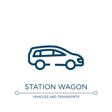 Station wagon icon. Linear vector illustration from transportation collection. Outline station wagon icon vector. Thin line symbol for use on web and mobile apps, logo, print media.