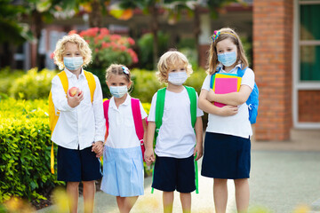 Kids on first school day after quarantine.
