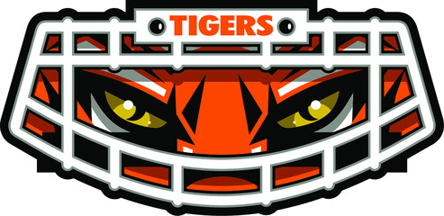 tigers football mascot face wearing facemask for school, college or league