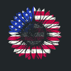 American Flag Sunflower Lover Tshirt Patriotic 4th Of July