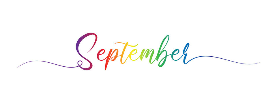 september letter calligraphy banner colorful gradient