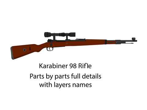 WW2 bolt-action rifle Karabiner 98k vector    WW2 guns   Parts by parts with layers name, best for animation such as firing, reloading etc.