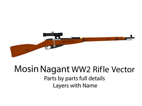 WW2 bolt-action rifle mosin nagant vector    WW2 guns   Parts by parts with layers name, best for animation such as firing, reloading etc.