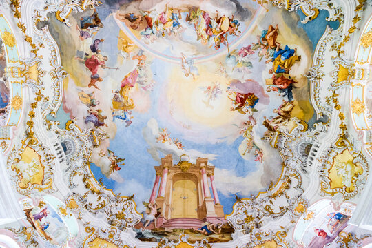 Wies, Germany. The Pilgrimage Church of Wies (Wieskirche), an oval rococo church located in the foothills of the Alps, Bavaria. A World Heritage Site