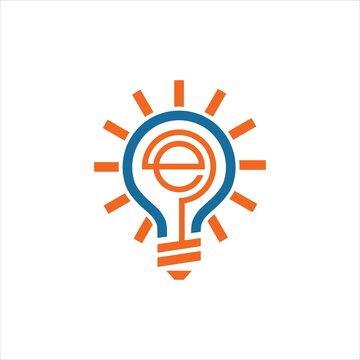bulb e vector logo design graphic abstract modern