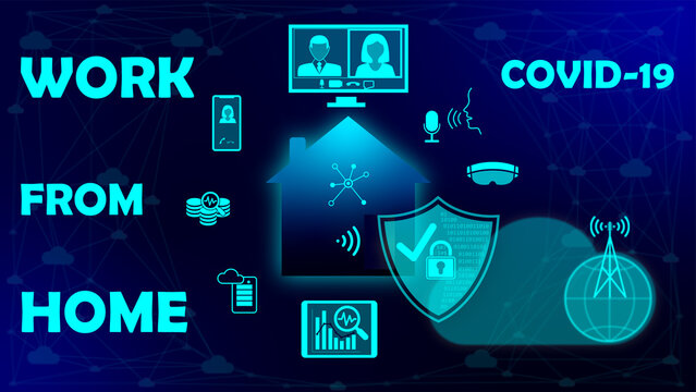 Work from home illustration concept in coronavirus COVID-19 reality.  Cyber secured safe home in cloud-based environment. Cloud computing and analyses, business communicated from home.