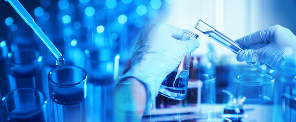 Double exposure of scientist working with reagents and test tubes, banner design. Laboratory analysis