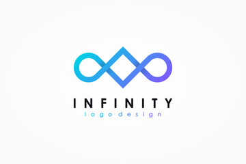 Infinity Logo. Blue and Purple Geometric Square and Circle Line Style Combination isolated on White Background. Usable for Business and Technology Logos. Flat Vector Logo Design Template Element.