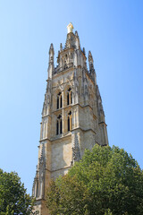 Spire of the beautiful St. Andre Cathedral which is from the 12th and the 14th century & is a UNESCO world heritage site, in the center of the city, Bordeaux, France