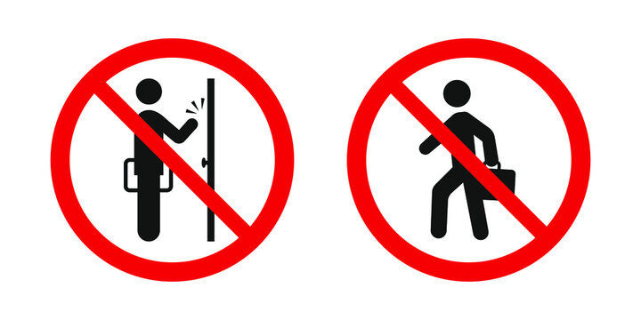 No soliciting sign. Vector red prohibitation signs
