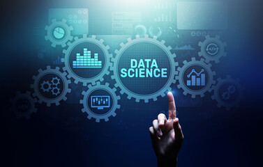 Poster India Big Data science analysis business technology concept on virtual screen.