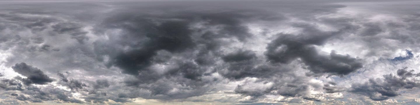 dark sky with beautiful black clouds before storm. Seamless hdri panorama 360 degrees angle view with zenith without ground for use in 3d graphics or game development as sky dome or edit drone shot