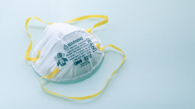 N95 mask or N95 respirator of 3M brand for industrial use, helps protect against particles, also can be used during the public health emergency of the COVID-19 pandemic situation
