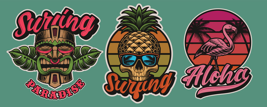 Set of colorful Hawaii surfing illustrations with tiki mask, skull, flamingo. These vectors are perfect for logos, shirt prints, and many other uses as well.