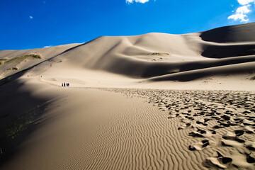 Footprints in the Khongoryn Els Gobi sand dunes, Gobi, Mongolia