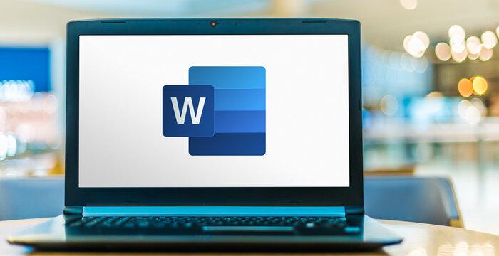 Laptop computer displaying logo of Microsoft Word