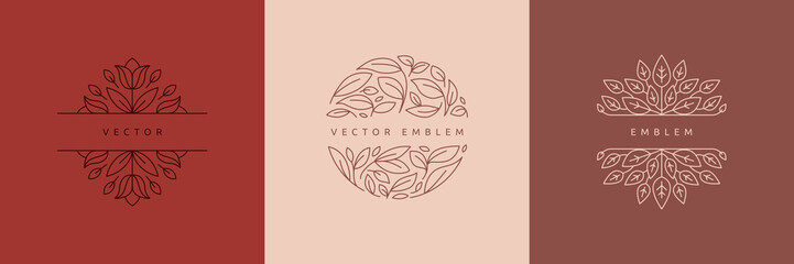 Estores personalizados con paisajes con tu foto Vector design templates in simple modern style with copy space for text, flowers and leaves - wedding invitation backgrounds and frames, social media stories wallpapers