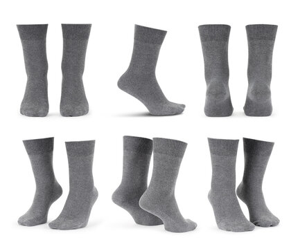 Set of blank grey socks mockup isolated on white background with clipping path.
