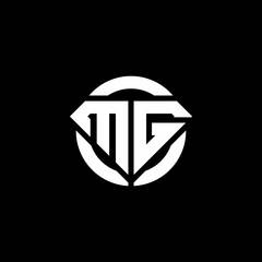 Fototapeta MG monogram logo with diamond shape and ring circle rounded obraz