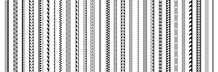Set of vector ethnic seamless pattern. Ornament bracelet in maori tattoo style. Geometric border african style. Vertical pattern. Design for home decor, wrapping paper, fabric, carpet, textile, cover